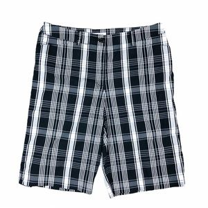 AK Ann Klein Sport black plaid bermuda shorts